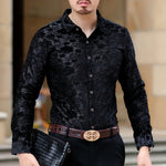 Sexy See Through Black Navy Blooming Men Long Sleeve Shirt