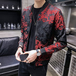 Black Red Jacquard Men Bomber Jacket Casual Streetwear