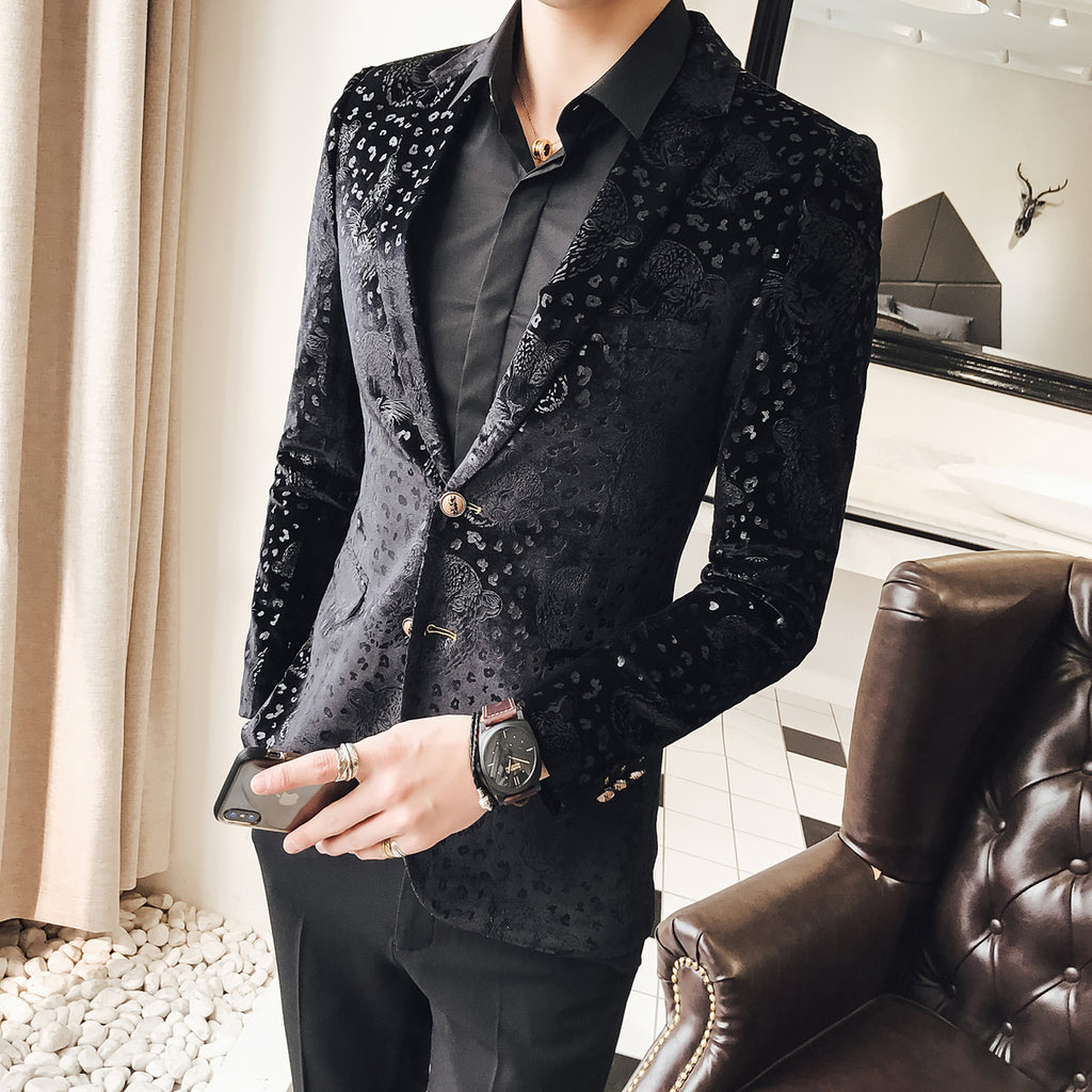 Tiger Had Pattern Art Men Black Velvet Blazer