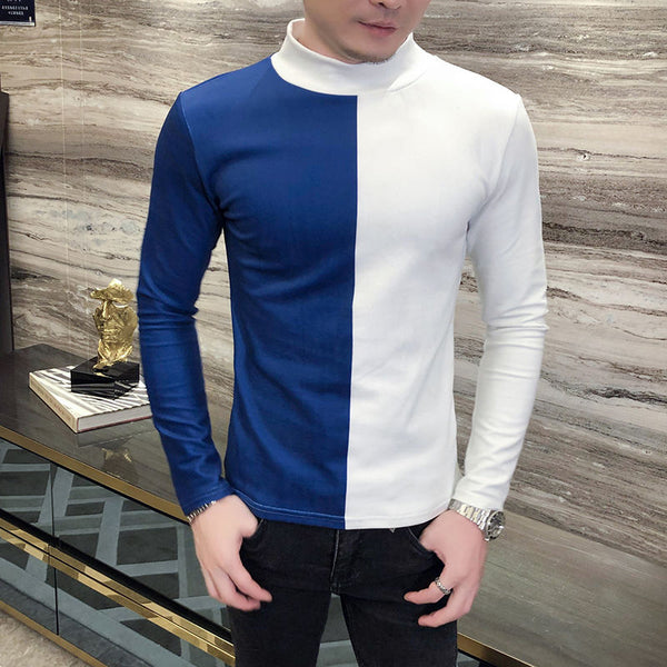 Side-by-Side Color Long Sleeve Velour T-Shirt