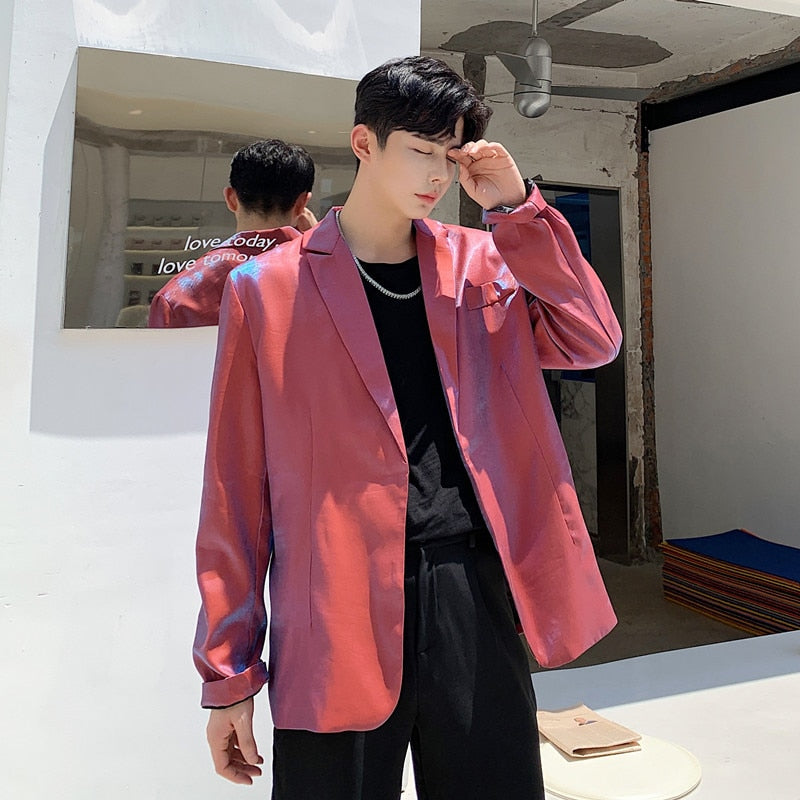 Shining Loose Red Streetwear Hip Hop Party Stage Style Men Blazer