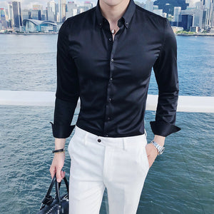 Solid Basic Business Men Long Sleeves Shirt