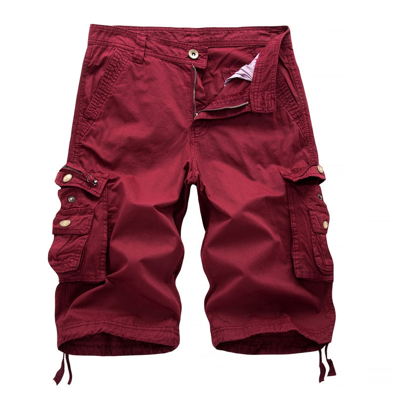 Solid Colour Army Cargo Tactical Multi Pockets Men Shorts