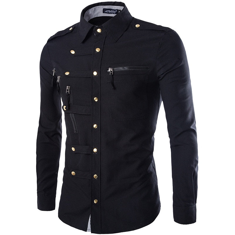 Cotton Solid Color Slim Fit Zipper Pocket Shirts
