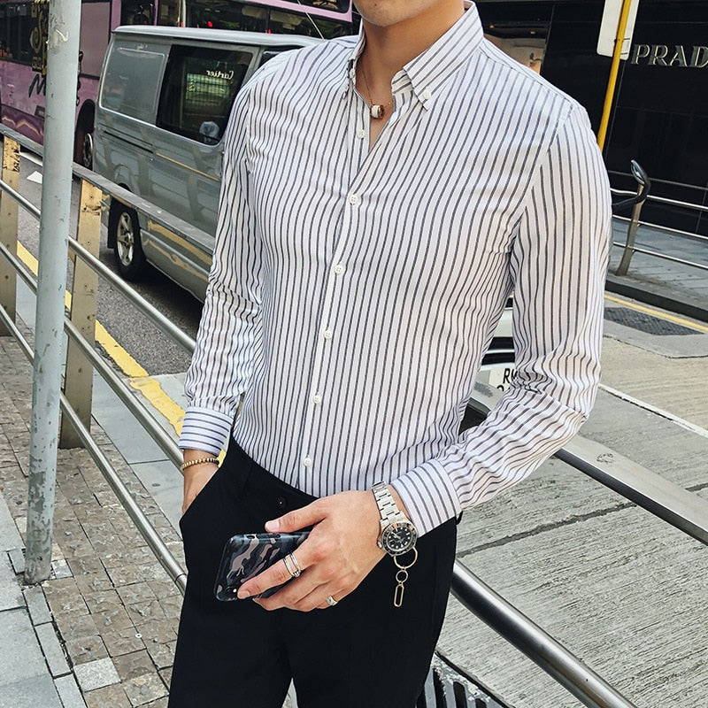 Basic Pinstripe Business Men Long Sleeves Shirt - FanFreakz
