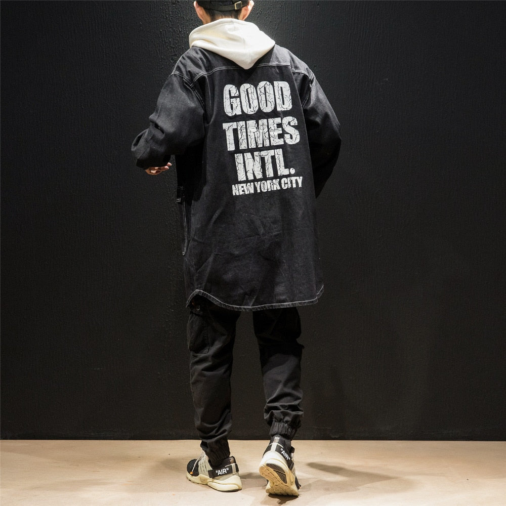 Cracked Letter Print Backside Men Long Denim Hooded Jacket - FanFreakz