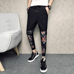 Tiger Head Prints Patchwork Men Ankle Length Jogger Pants Print