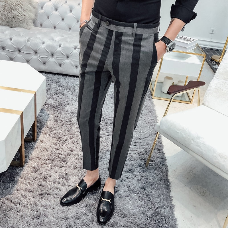 Bold Striped Casual Slim Fit Style Men Dress Trousers - FanFreakz
