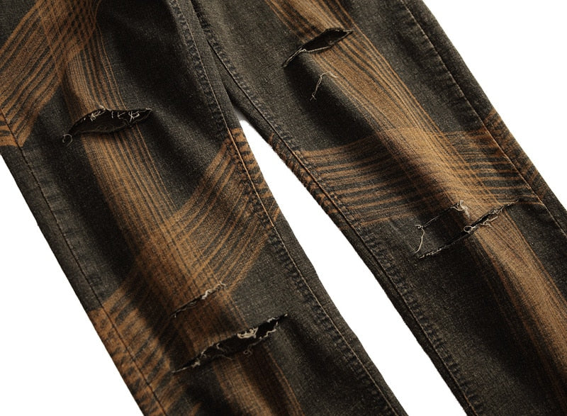 Orange Brown Holes and Brush Stripe Pattern Men Slim Jeans