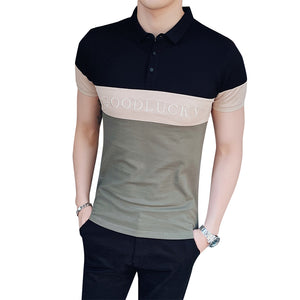 Three Colors Men Polo Shirt Chest Embroidery