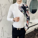 Contrast One Side Sleeve Print Autumn Design Men Slim Fit Shirt - FanFreakz