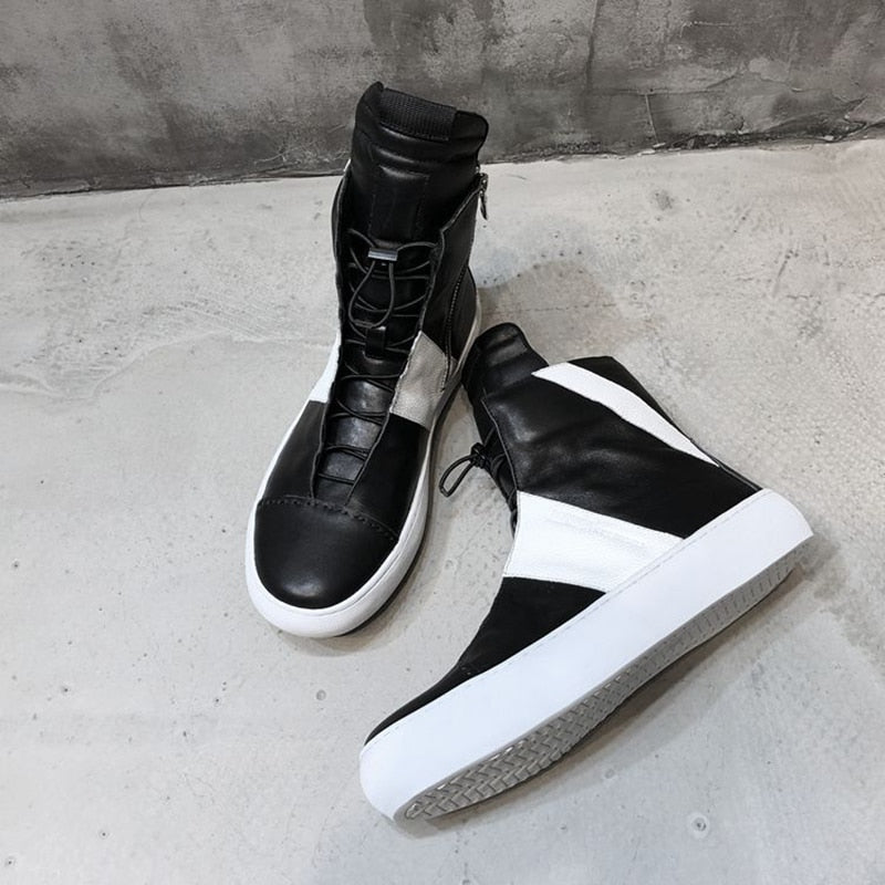 Casual Solid Black White Men Genuine Leather High Top Sneaker