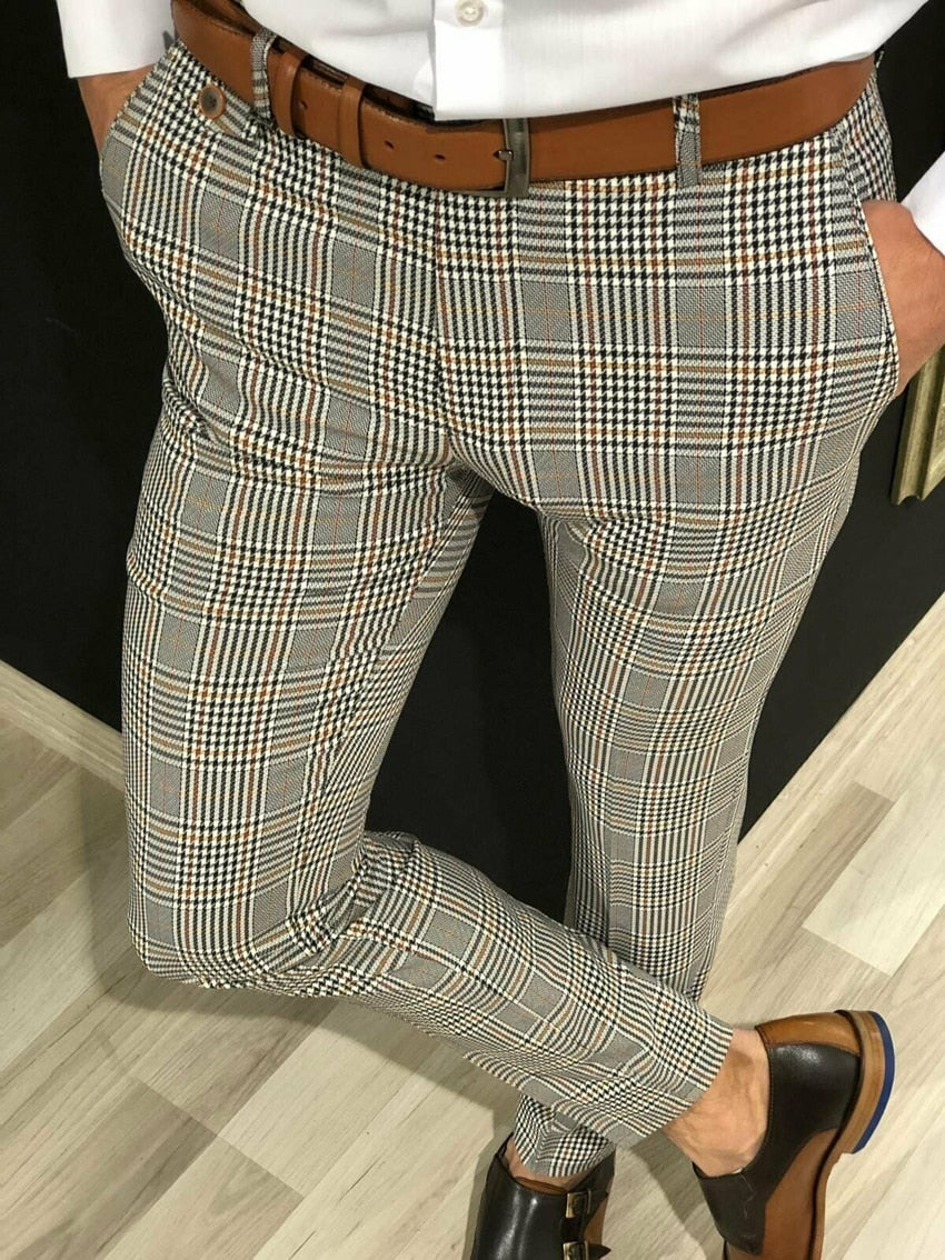 Business Plaid Suit Pants Men Formal Slim Fit