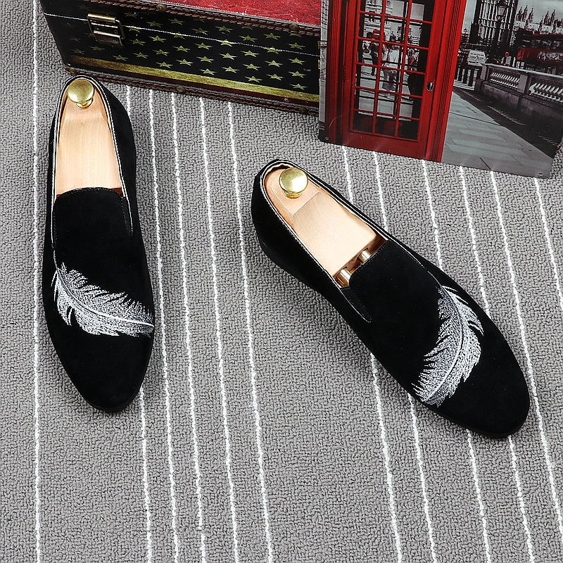 Feather Embroidered Men Loafers Shoes - FanFreakz