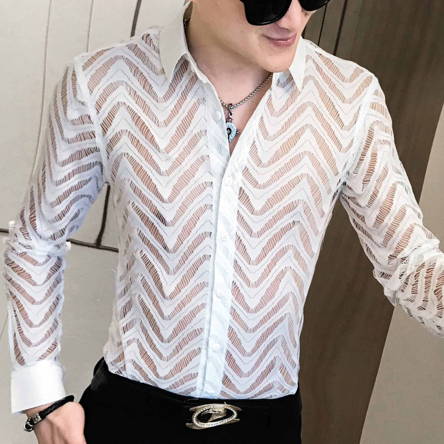 Stitch Wave Stripe Sexy See Through Style Men Shirts