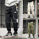 Cargo Loose Style with Elastic Waist and Patch Pockets Men Pants