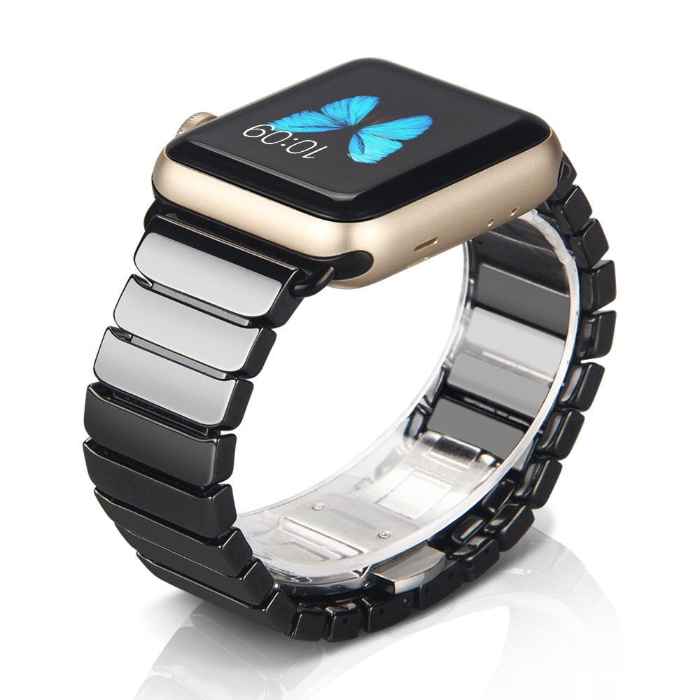 Link Style Ceramic Bracelet Apple Watch Band with Butterfly Closure
