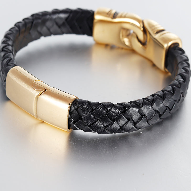 Stainless Steel Authentic Style Men Charm Leather Bracelet