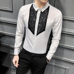 Chic Men Shirt Fashion  Front Sequins Tuxedo Long Sleeve