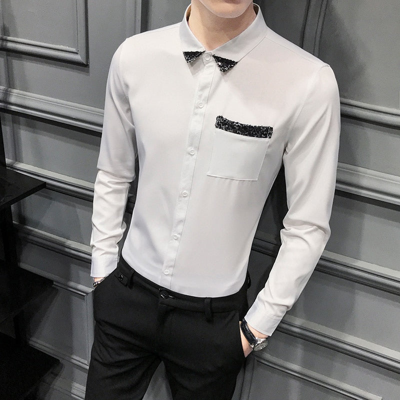 Chic Shirt Men Fashion New Long Sleeve