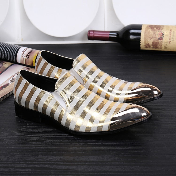 Metal Pointed Toe Gold Stripes Leather Men Shoes