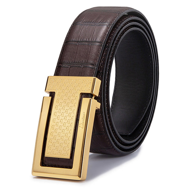 Embossed Genuine Leather Men Metal Buckle Belt