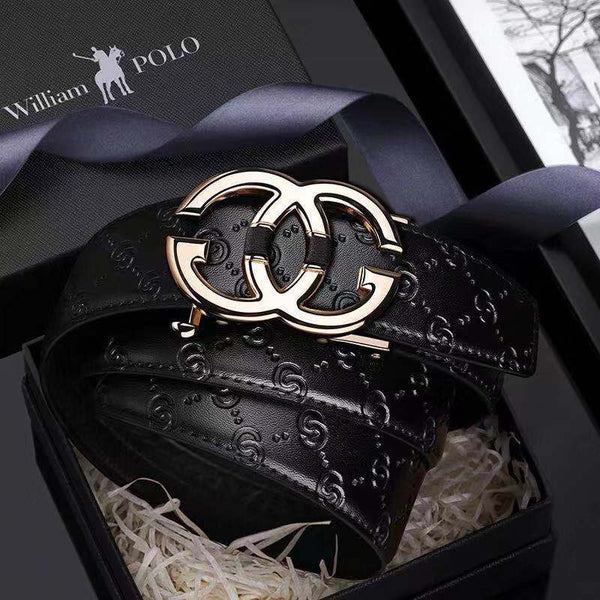 Luxury Automatic Buckle Gold Design Men Leather Belt