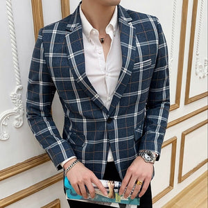 Classic Plaid Single Breasted Style Men Slim Fit Blazer - FanFreakz