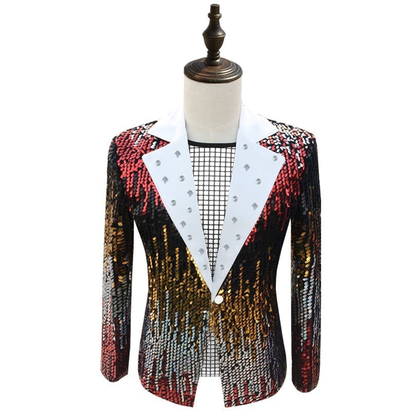 Colorful Sequin Men Slim Fit Blazer For Club and Party - FanFreakz