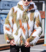 Green White Brown Camo Men Fur Jacket with Hoodie
