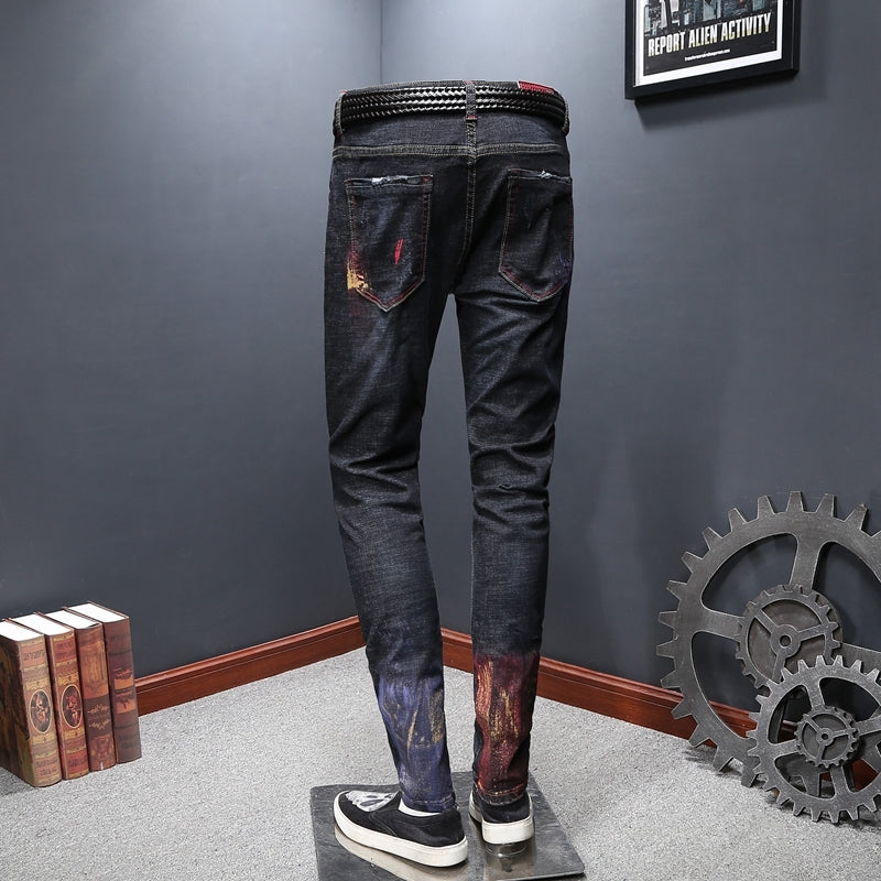 Colorfull Scratch Style Men Slim Fit Denim Jeans - FanFreakz