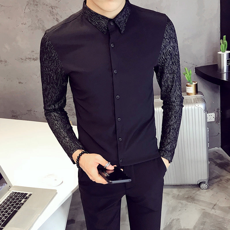 Textured Pattern Long Sleeves Style Men Slim Fit Shirt