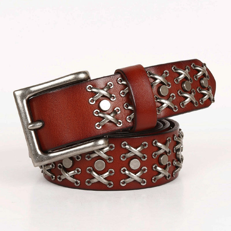 Cowboy Punk with Cris Cross Metal Rivets Men Leather Belt - FanFreakz