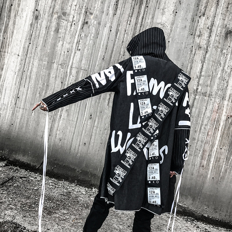 Black Cross Long Ribbon Hip Hop Punk Style Men Hooded Trench Jacket