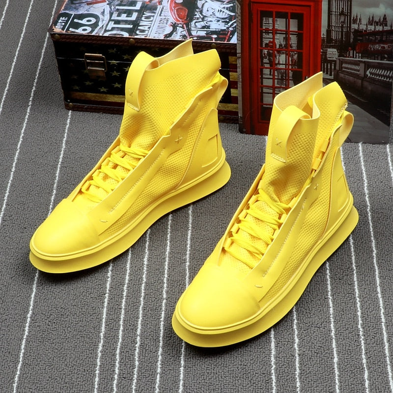 Solid Bright Leisure Casual Style Men High Top Sneaker