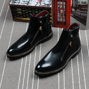 British Solid Gloss Style with Zipper Design Men Ankle Boots