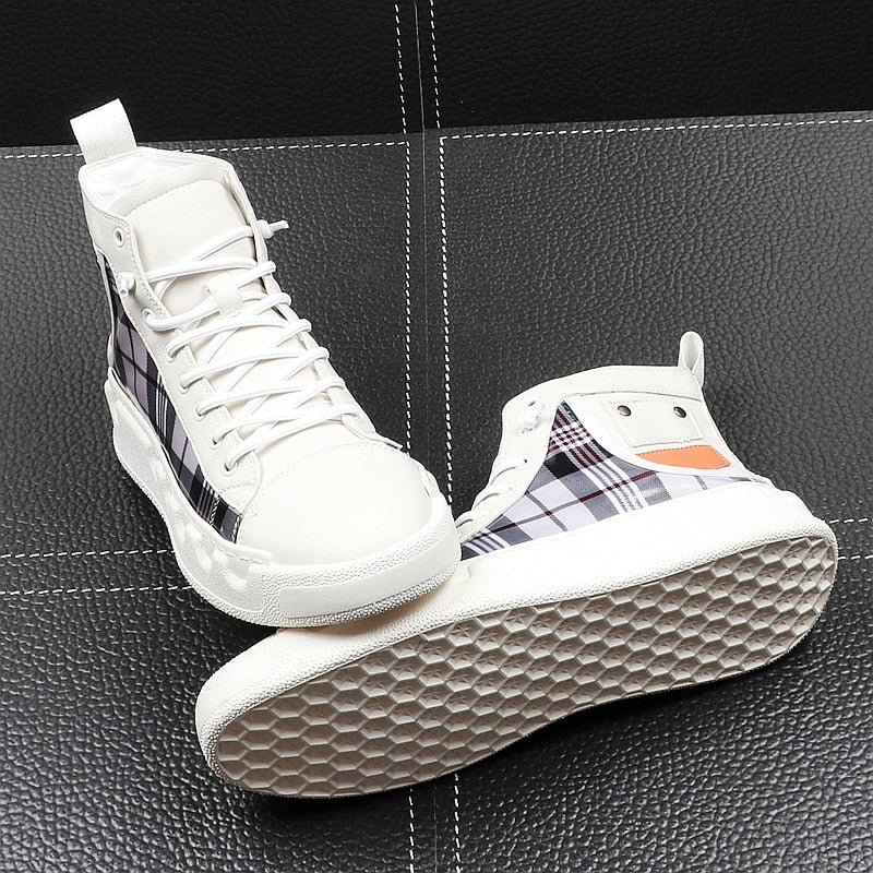 Casual Lace Up with Plaid Mix Style Men High Top Sneaker - FanFreakz