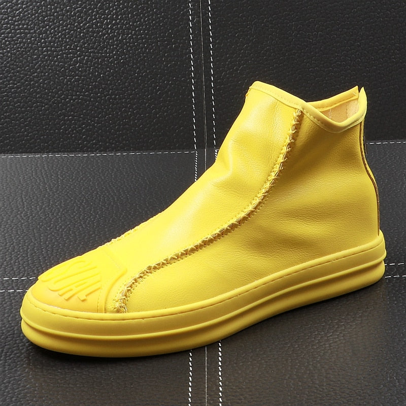 Casual Toe Slip On with Back Zipper Style Men Ankle Boots