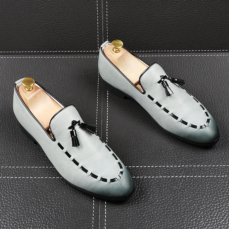 Pointed Toe Stitched Tassel Style Men Shoes