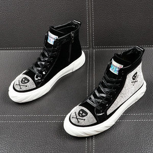 Casual Ankle Crystal High Top Style Men Sneaker