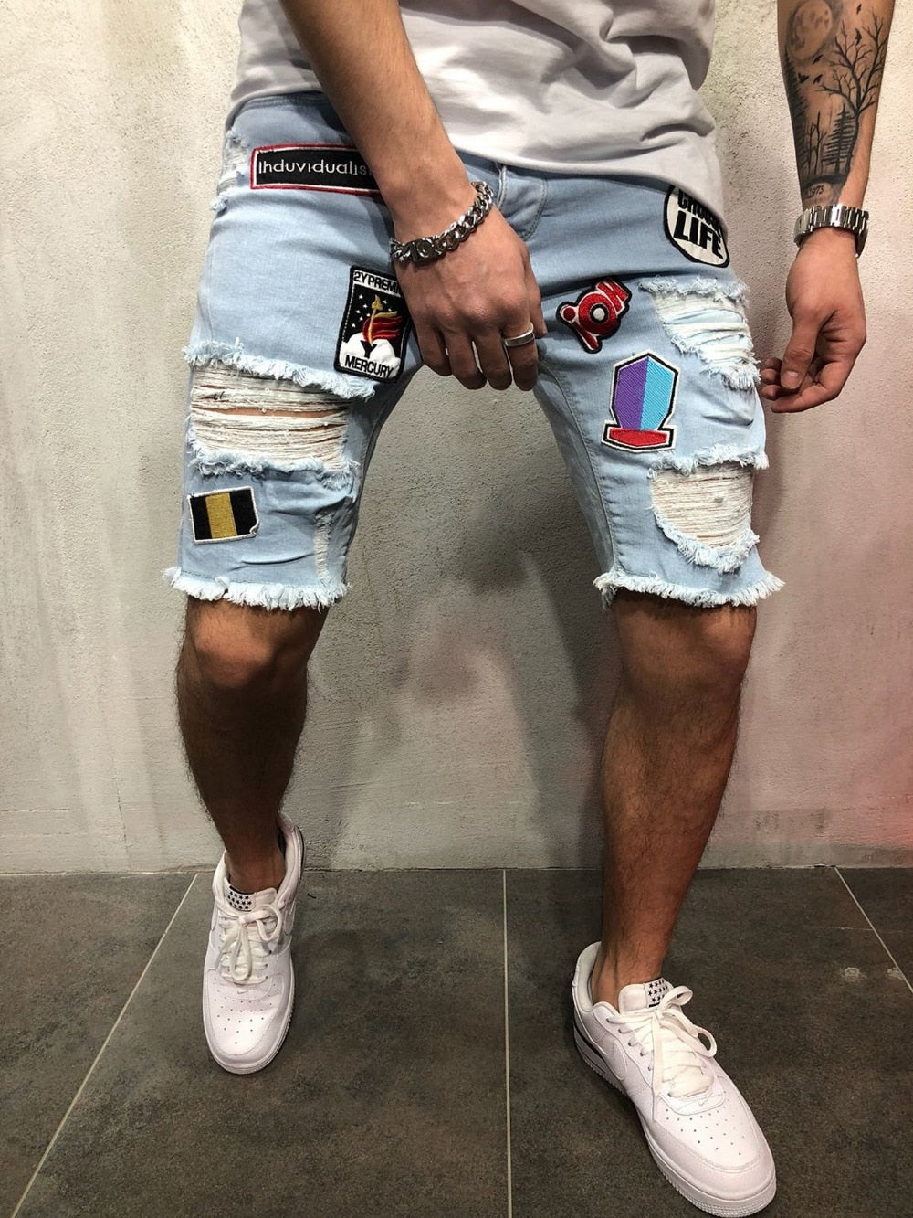 Casual Summer Denim Ripped  with Multi Badges Style Men Shorts
