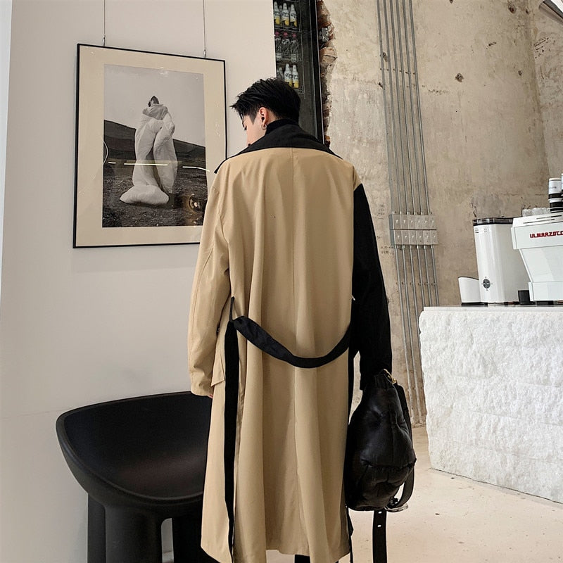 Casual Long Splice Colors Double Breasted Loose Style Men Trench Coat