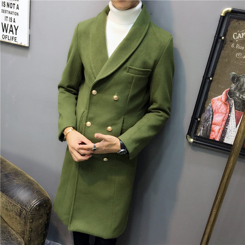 Wool Blend Double Breasted Men Long Trench Coat