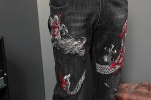 Black with Dragon Red Fire Embroidery Casual Style Men Jeans