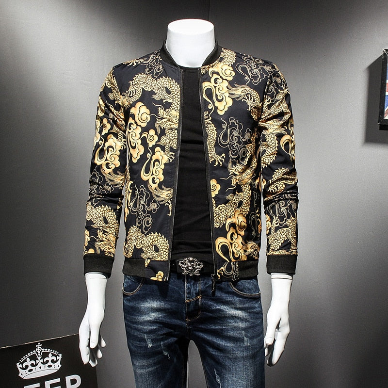9c5b1f7ed Black with Chinese Style Dragon Gold Print Men Bomber Jacket - FanFreakz