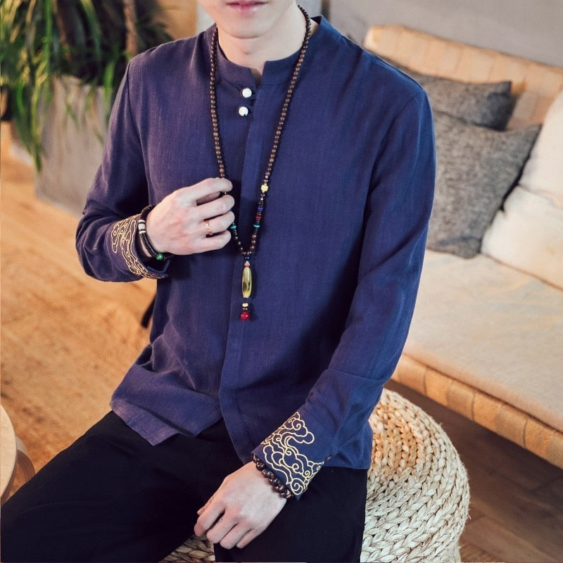 Linen Traditional Kung Fu Style with Simple Wrist Embroidery Men Long Sleeve Shirt