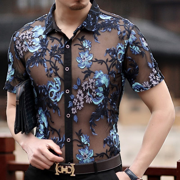 Embroidery Sexy Men Transparent Mesh Slim Fit Shirt - FanFreakz
