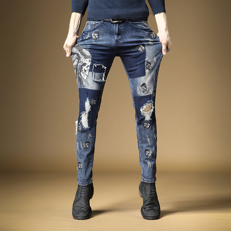 Patchwork Ripped Style with Skull Print Men Stretch Jeans