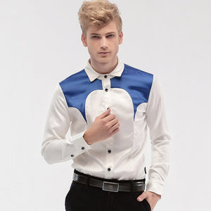 Blue Patchwork On Shoulder Men White Long Sleeve Slim Shirt - FanFreakz