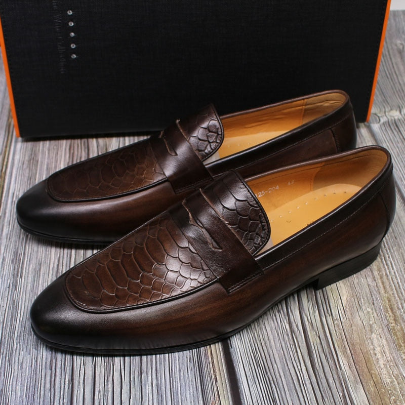 Snake Print Upper Leather Casual Dress Style Men Shoes